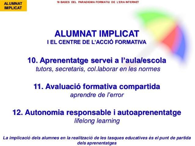 ALUMNAT IMPLICAT I EL CENTRE DE L'ACCIÓ FORMATIVA 10. Aprenentatge servei a l'aula/escola tutors, secretaris, col.laborar ...