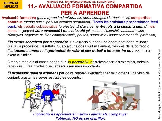 1. Se hacen los ejercicios Avaluació formativa (per a aprendre i millorar els aprenentatges i la docèencia) compartida i c...