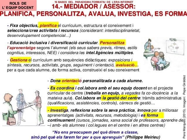 """14.- MEDIADOR / ASESSOR: PLANIFICA, PERSONALITZA, AVALUA, INVESTIGA, ES FORMA ROLES DOCENTES """"No ens preocupem pel què dir..."""