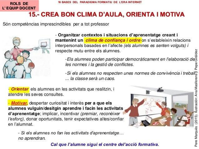 15.- CREA BON CLIMA D'AULA, ORIENTA I MOTIVA Cal que l'alumne sigui el centre del'acció formativa. Són competèncias impres...