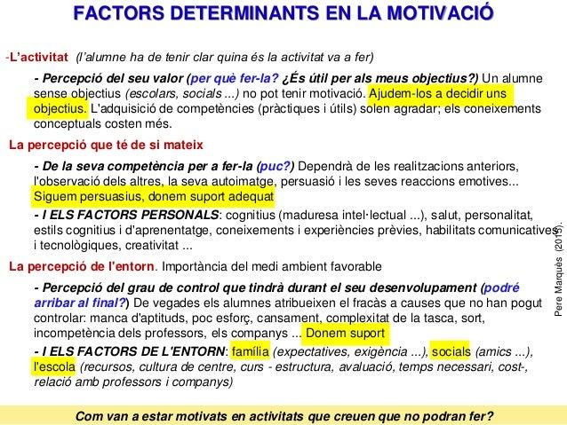 FACTORS DETERMINANTS EN LA MOTIVACIÓ PereMarquès(2015). Com van a estar motivats en activitats que creuen que no podran fe...