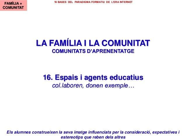 LA FAMÍLIA I LA COMUNITAT COMUNITATS D'APRENENTATGE 16. Espais i agents educatius col.laboren, donen exemple… FAMÍLIA + CO...
