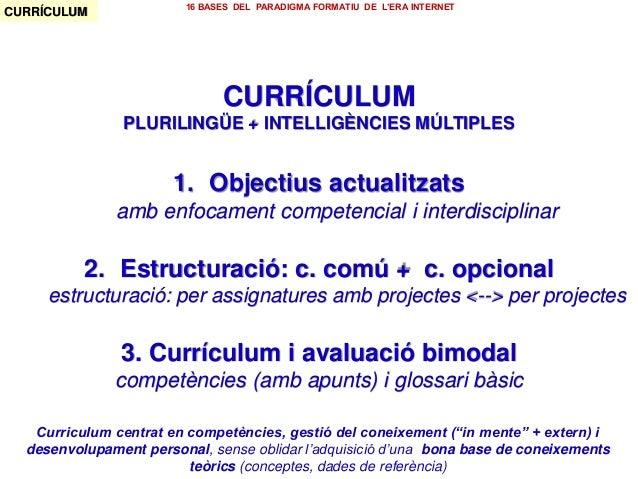 CURRÍCULUM PLURILINGÜE + INTELLIGÈNCIES MÚLTIPLES 1. Objectius actualitzats amb enfocament competencial i interdisciplinar...