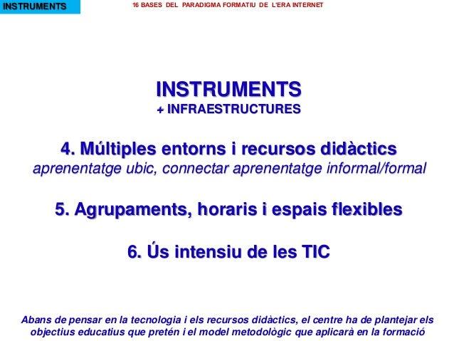 INSTRUMENTS + INFRAESTRUCTURES 4. Múltiples entorns i recursos didàctics aprenentatge ubic, connectar aprenentatge informa...