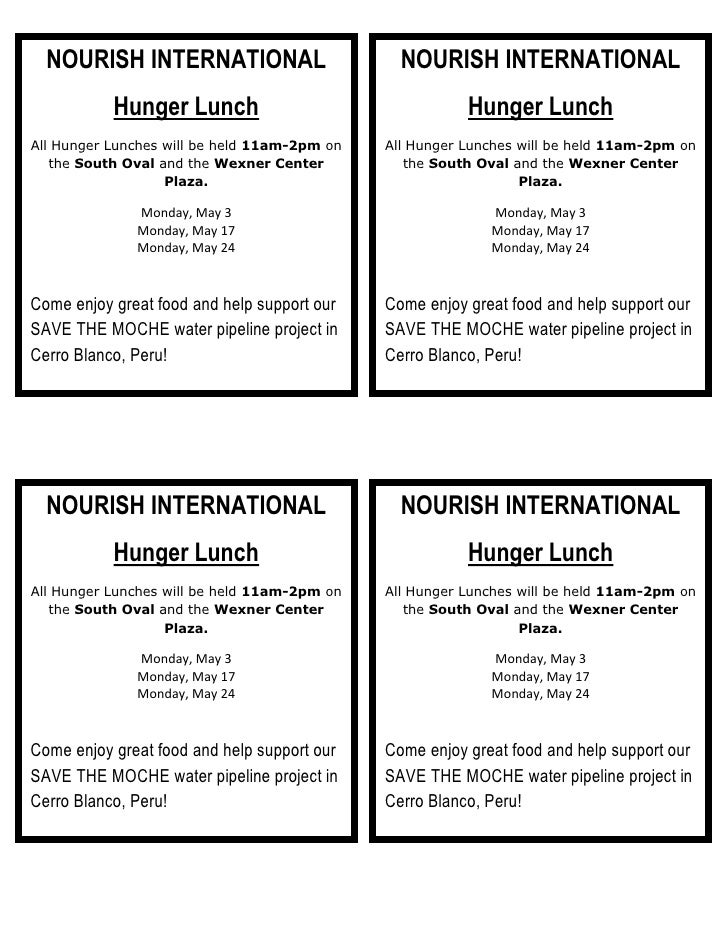NOURISH INTERNATIONALHunger LunchAll Hunger Lunches will be held 11am-2pm on the South Oval and the Wexner Center Plaza.Mo...