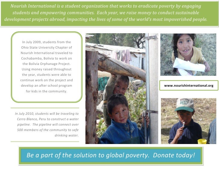 Nourish International is a student organization that works to eradicate poverty by engaging     students and empowering co...