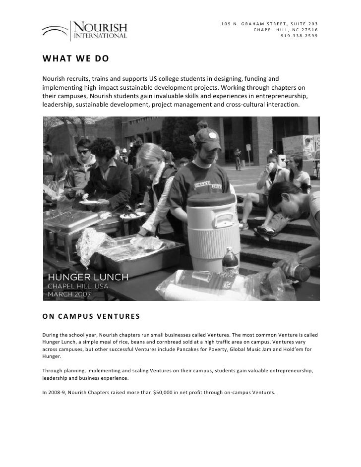what we do<br />Nourish recruits, trains and supports US college students in designing, funding and implementing high-impa...