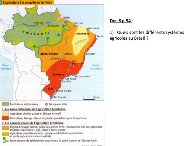Carte Du Bresil Agriculture.Cours