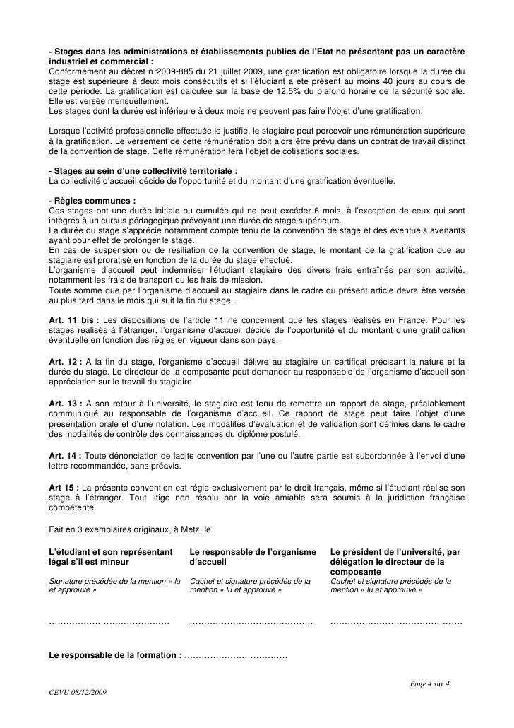 Nouv convention de stage 11 2009 - 12 5 du plafond horaire de la securite sociale ...