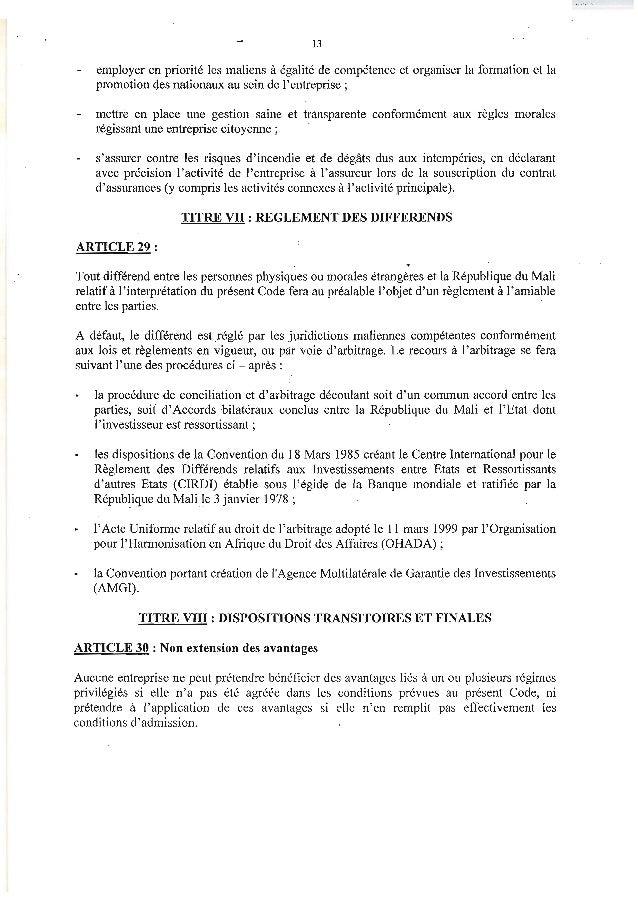 13employer en priorité les maliens à égalité de compétence et organiser la formation et lapromotion des nationaux au sein ...