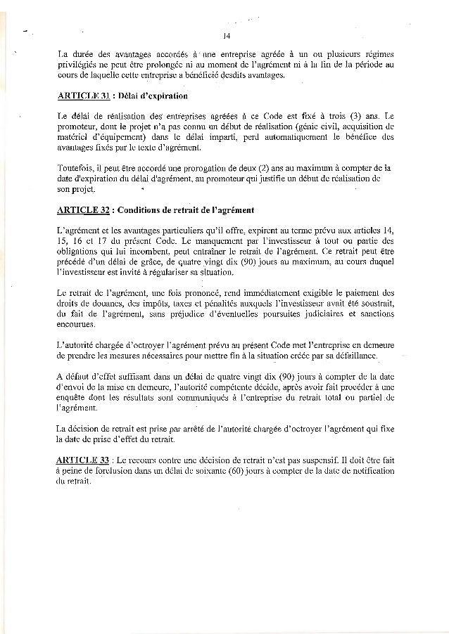 14La durée des avantages accordés une entreprise agreee à un ou plusieurs regimesàprivilégiés ne peut être prolongée ni au...
