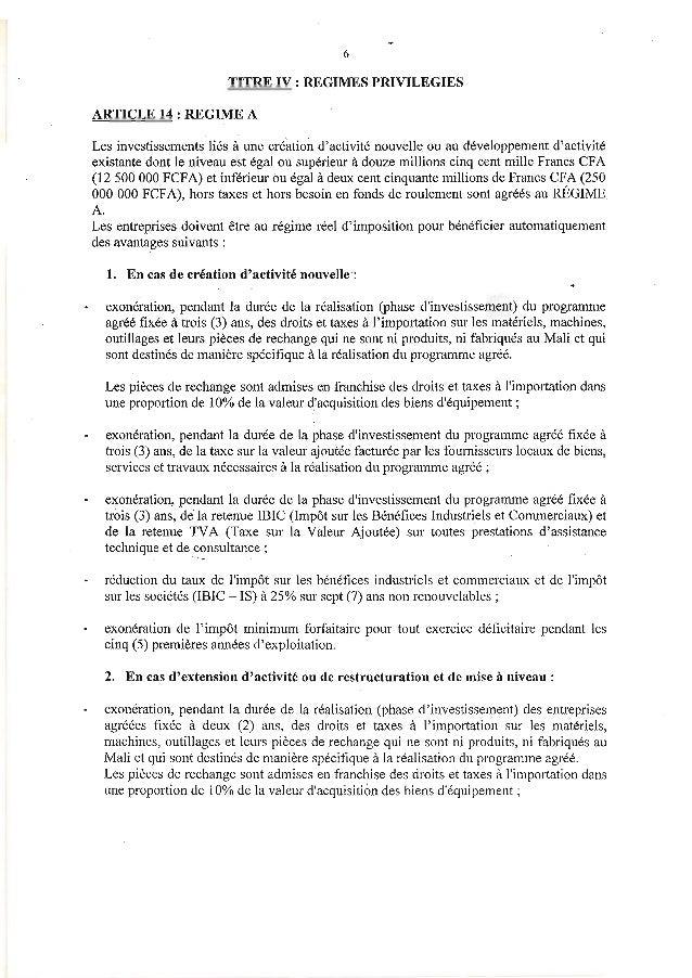 6TITRE IV : REGIMES PRIVILEGIESARTICLE 14 : REGIME ALes investissements liés à une crlation dactivité nouvelle ou au dével...