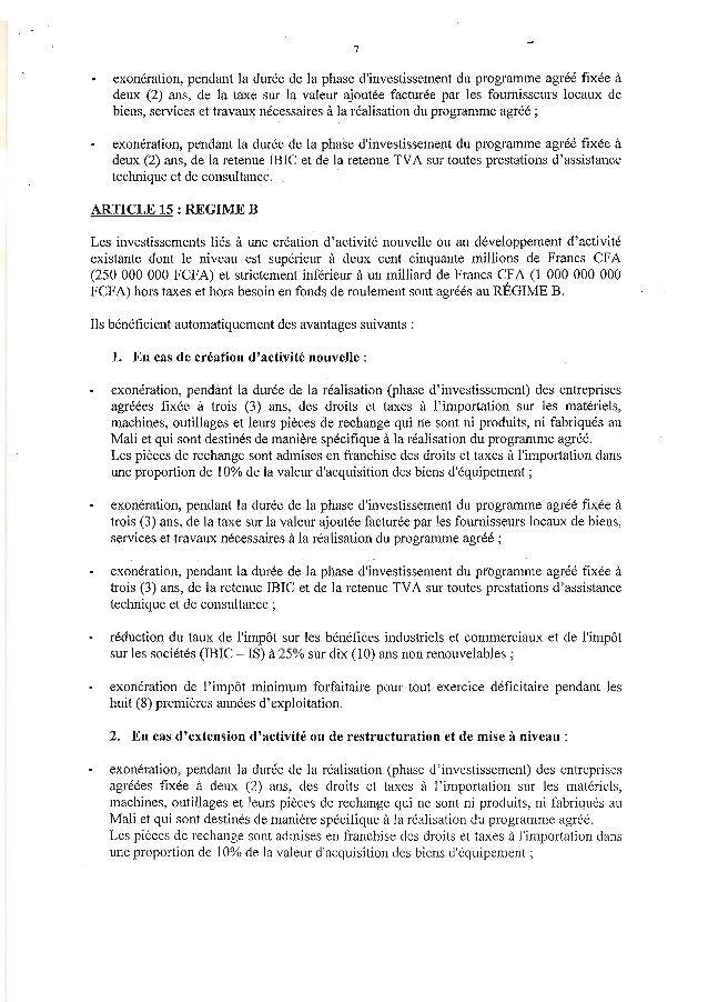 7exonération, pendant la durée de la phase dinvestissement du programme agréé fixée àdeux (2) ans, de la taxe sur la valeu...