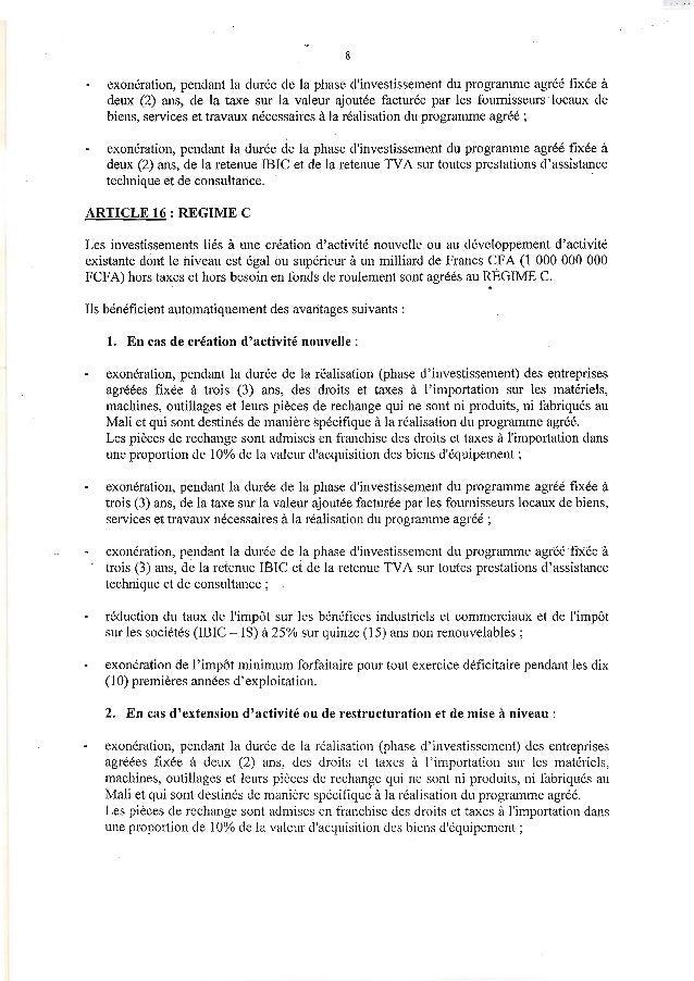 8exonération, pendant la durée de la phase dinvestissement du programme agréé fixée àdeux (2) ans, de la taxe sur la valeu...