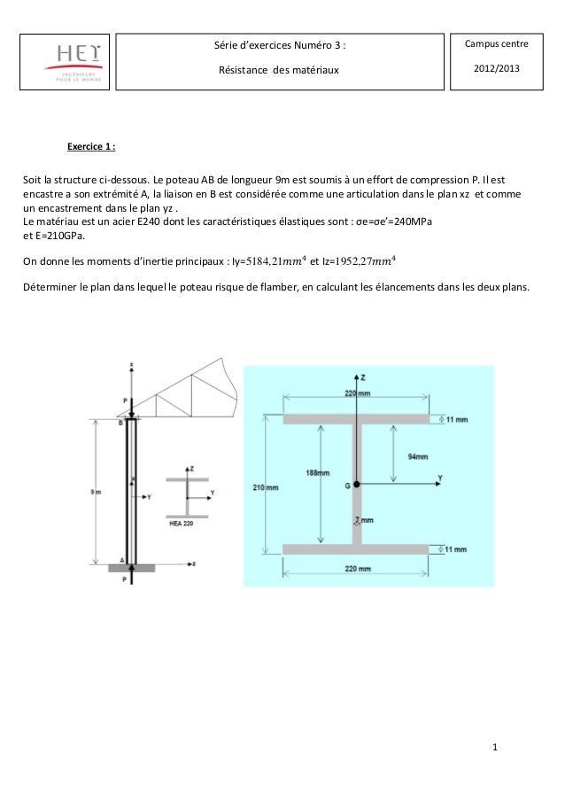 1Exercice 1 :Série d'exercices Numéro 3 :Résistance des matériauxCampus centre2012/2013Soit la structure ci-dessous. Le po...