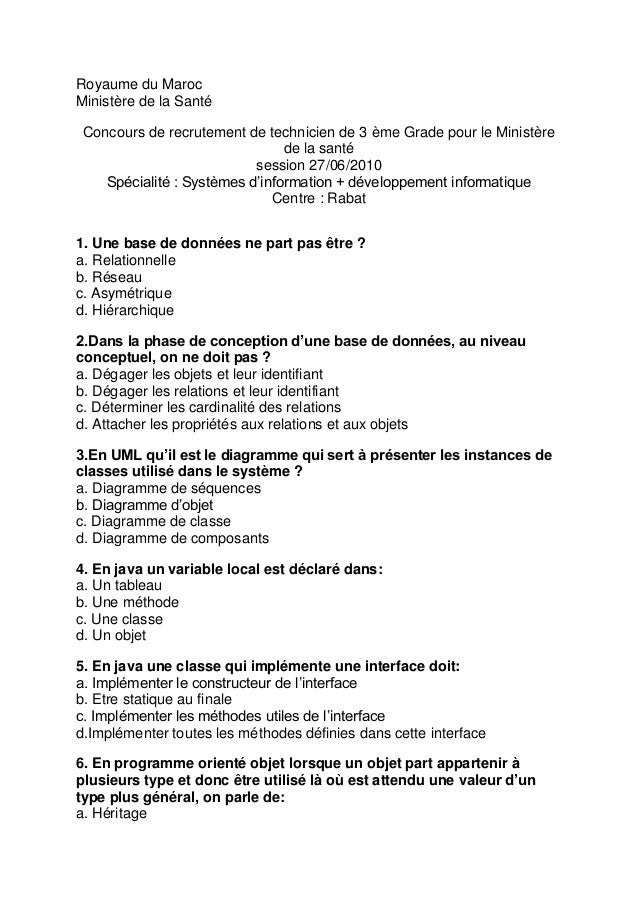 Royaume du Maroc Ministère de la Santé Concours de recrutement de technicien de 3 ème Grade pour le Ministère de la santé ...