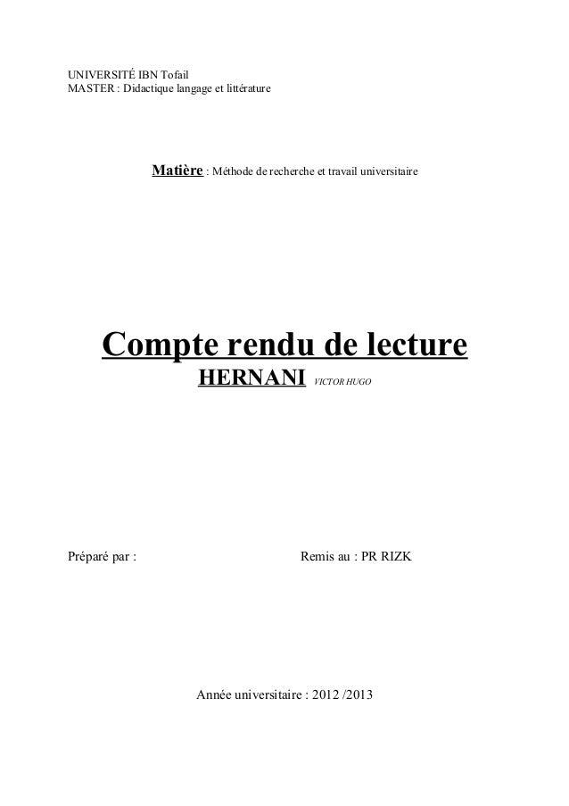 UNIVERSITÉ IBN TofailMASTER : Didactique langage et littérature                 Matière : Méthode de recherche et travail ...