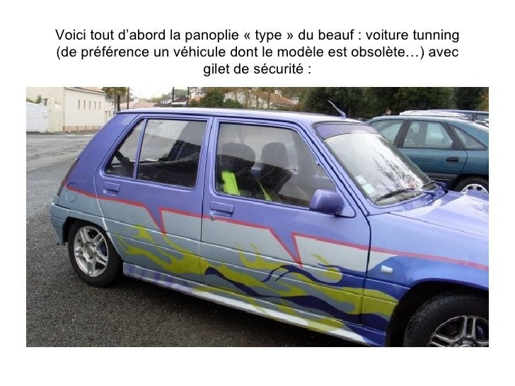Voici tout d'abord la panoplie « type » du beauf : voiture tunning (de préférence un véhicule dont le modèle est obsolète…...