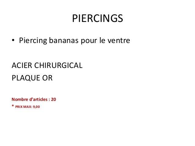 PIERCINGS • Piercing bananas pour le ventre ACIER CHIRURGICAL PLAQUE OR Nombre d'articles : 20 * PRIX MAX: 9,00