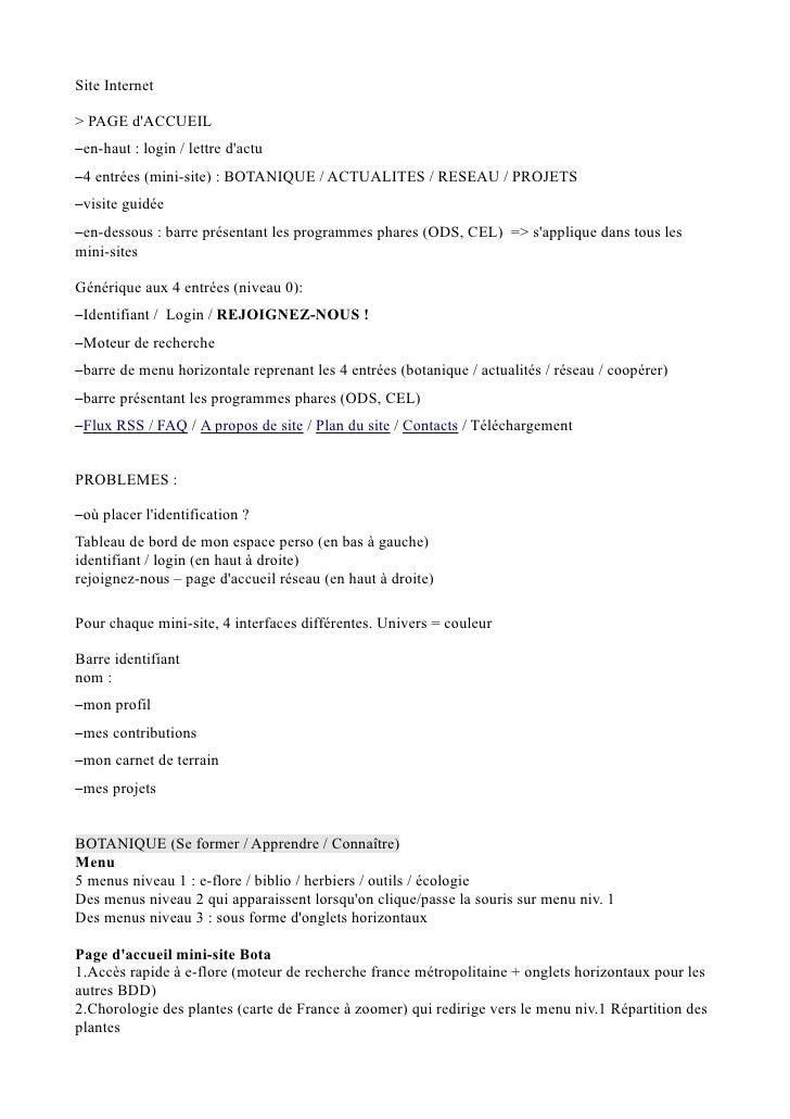 Site Internet  > PAGE d'ACCUEIL –en-haut : login / lettre d'actu –4 entrées (mini-site) : BOTANIQUE / ACTUALITES / RESEAU ...