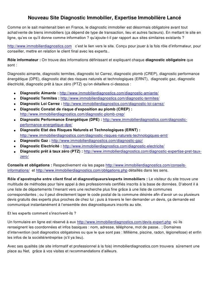 Nouveau Site Diagnostic Immobilier, Expertise Immobilière Lancé<br />Comme on le sait maintenait bien en France, le diagno...