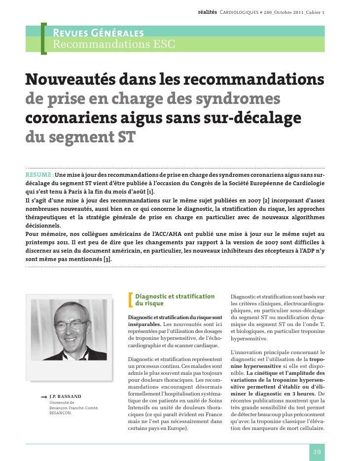 réalités Cardiologiques # 280_Octobre 2011_Cahier 1          Revues Générales          Recommandations ESCNouveautés dans ...