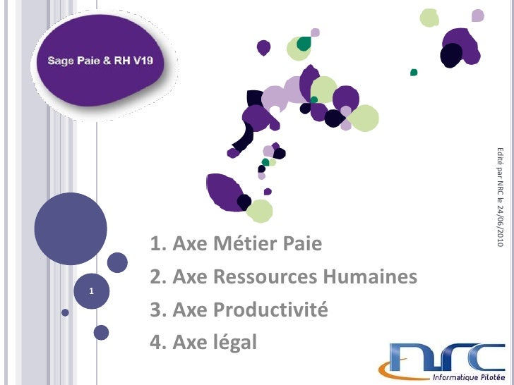 Edité par NRC le 24/06/2010     1. Axe Métier Paie 1     2. Axe Ressources Humaines     3. Axe Productivité     4. Axe lég...
