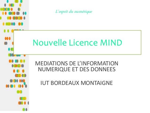 Nouvelle Licence MIND MEDIATIONS DE L'INFORMATION NUMERIQUE ET DES DONNEES IUT BORDEAUX MONTAIGNE L'esprit du numérique
