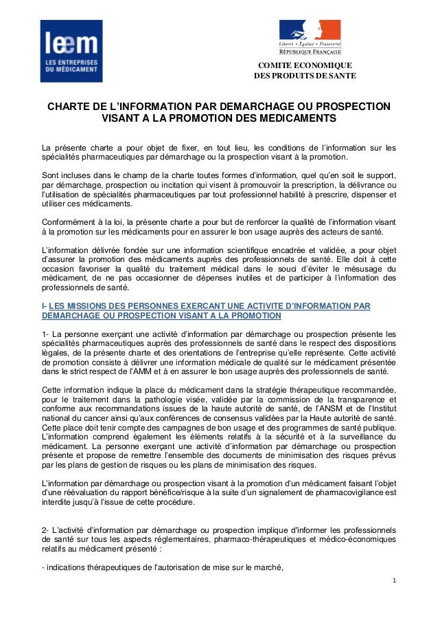1 COMITE ECONOMIQUE DES PRODUITS DE SANTE CHARTE DE L'INFORMATION PAR DEMARCHAGE OU PROSPECTION VISANT A LA PROMOTION DES ...