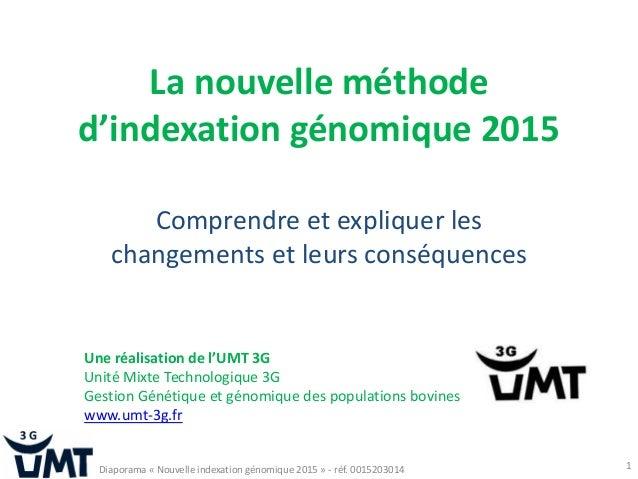 La nouvelle méthode d'indexation génomique 2015 Comprendre et expliquer les changements et leurs conséquences 1 Une réalis...