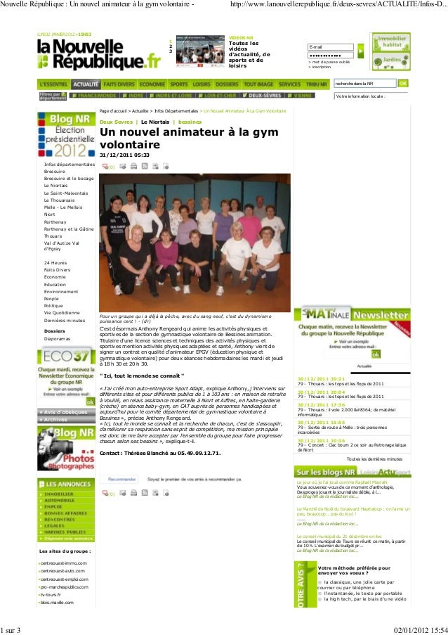 Nouvelle République : Un nouvel animateur à la gym volontaire -  1 sur 3  LUNDI 2 JANVIER 2012 >15H53  1 2 3  http://www.l...