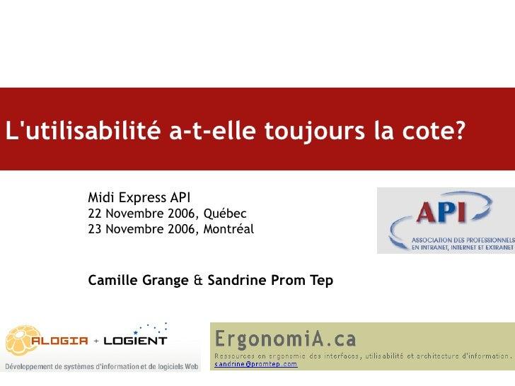 L'utilisabilité a-t-elle toujours la cote?   Midi Express API 22 Novembre 2006, Québec 23 Novembre 2006, Montréal Camille ...
