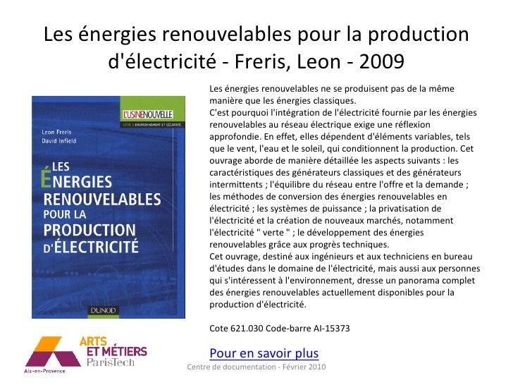 Les énergies renouvelables pour la production        d'électricité - Freris, Leon - 2009                      Les énergies...