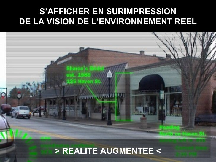 S'AFFICHER EN SURIMPRESSION DE LA VISION DE L'ENVIRONNEMENT REEL > REALITE AUGMENTEE <