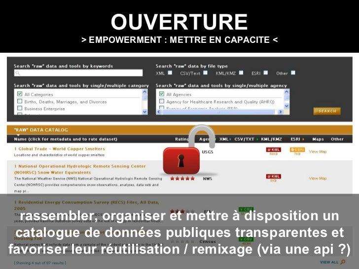 OUVERTURE > EMPOWERMENT : METTRE EN CAPACITE < rassembler, organiser et mettre à disposition un catalogue de données publi...