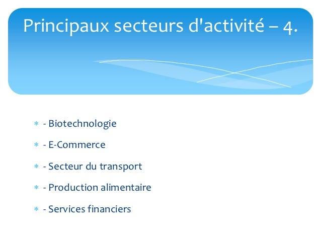 Principaux secteurs dactivité – 4.  - Biotechnologie  - E-Commerce  - Secteur du transport  - Production alimentaire ...