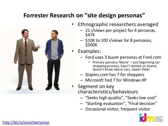 """Forrester Research on """"site design personas""""                              • Ethnographic researchers averaged             ..."""