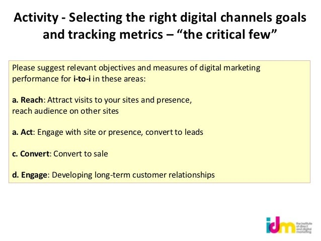 """Activity - Selecting the right digital channels goals     and tracking metrics – """"the critical few""""Please suggest relevant..."""
