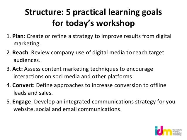 Structure: 5 practical learning goals              for today's workshop1. Plan: Create or refine a strategy to improve res...