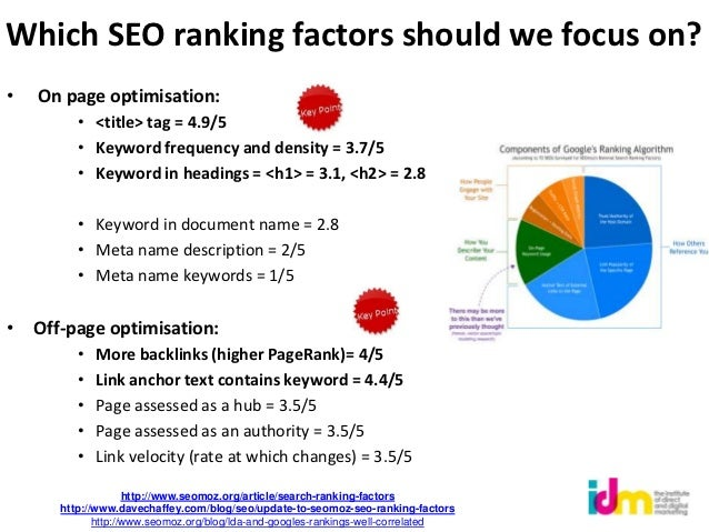 Which SEO ranking factors should we focus on?•   On page optimisation:         • <title> tag = 4.9/5         • Keyword fre...