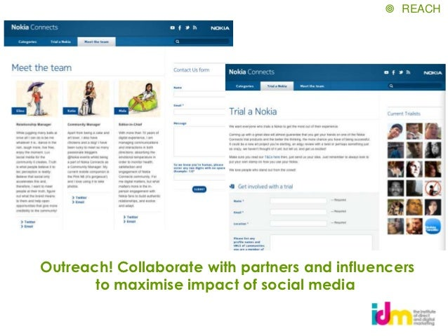  REACHOutreach! Collaborate with partners and influencers       to maximise impact of social media