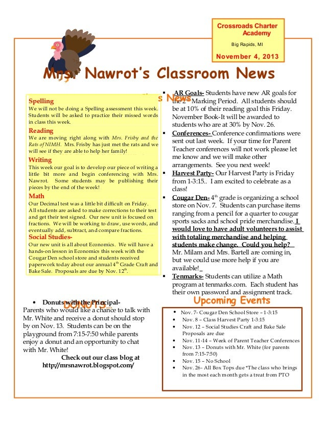 Crossroads Charter Academy Big Rapids, MI  November 4, 2013  Mrs. Nawrot's Classroom News   Spelling  AR Goals- Students ...