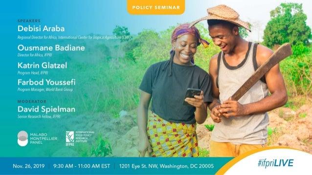 www.mamopanel.org Transforming Africa's Food System with Digital Technologies Washington DC 26 November 2019