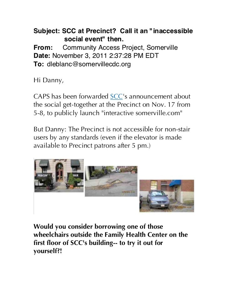 """Subject: SCC at Precinct? Call it an """"inaccessible          social event"""" then.From:    Community Access Project, Somervil..."""