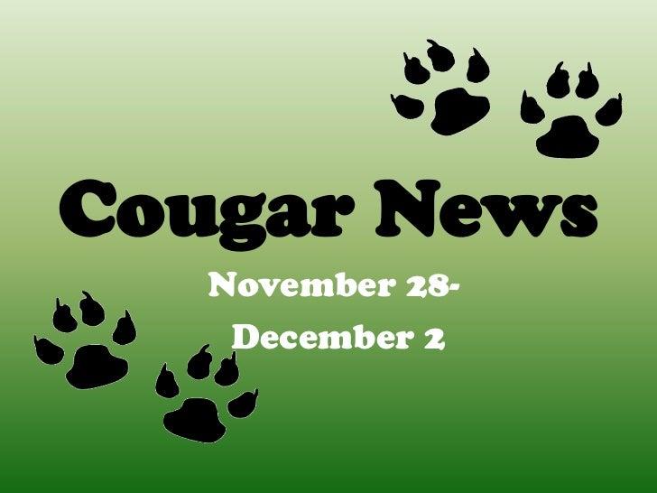 Cougar News   November 28-    December 2