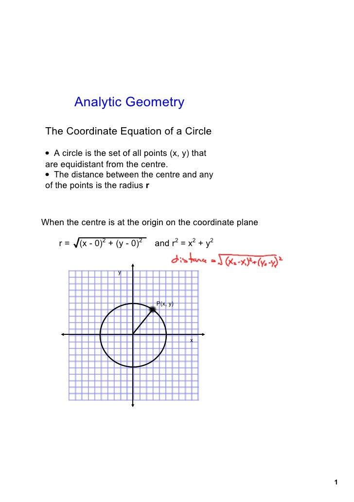 AnalyticGeometry   TheCoordinateEquationofaCircle  • Acircleisthesetofallpoints(x,y)that areequidistant...