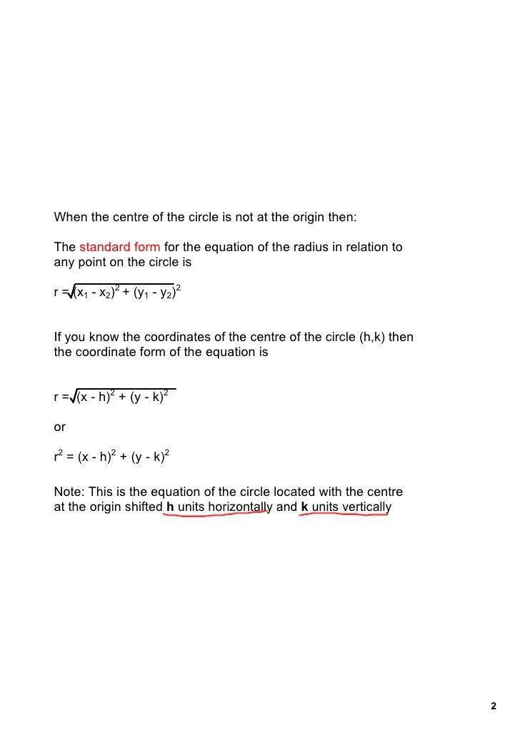 Nov 3 Coordinate Equation Of A Circle