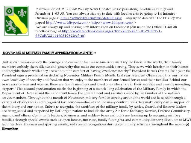 2 November 2012 1-63AR Weekly News Update: please pass along to Soldiers, Family and                      Friends of 1-63 ...