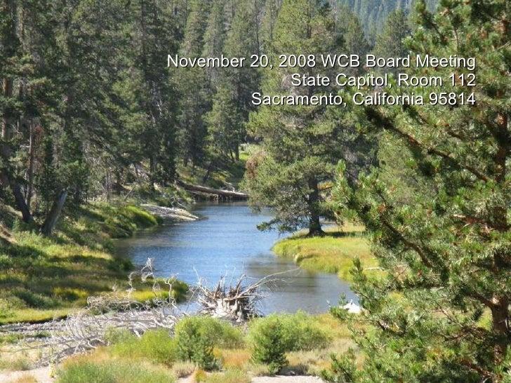 November 20, 2008 WCB Board Meeting State Capitol, Room 112 Sacramento, California 95814