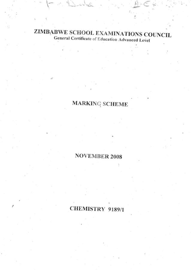 Chemistry paper 1 marking scheme 2008 session Advanced Level